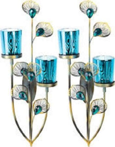2 Peacock Plume Candle Wall Sconces