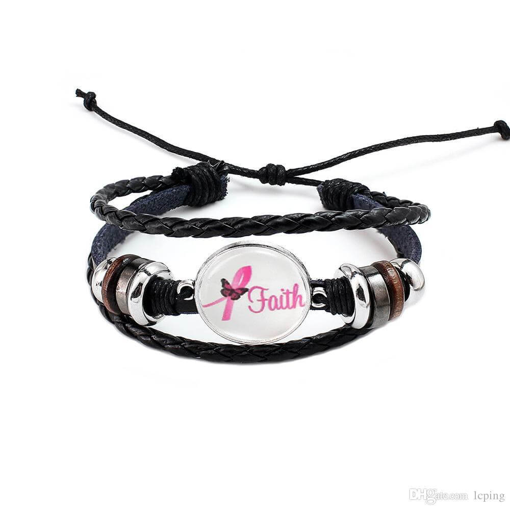 Breast Cancer Awareness Faith Leather Rope Bracelet