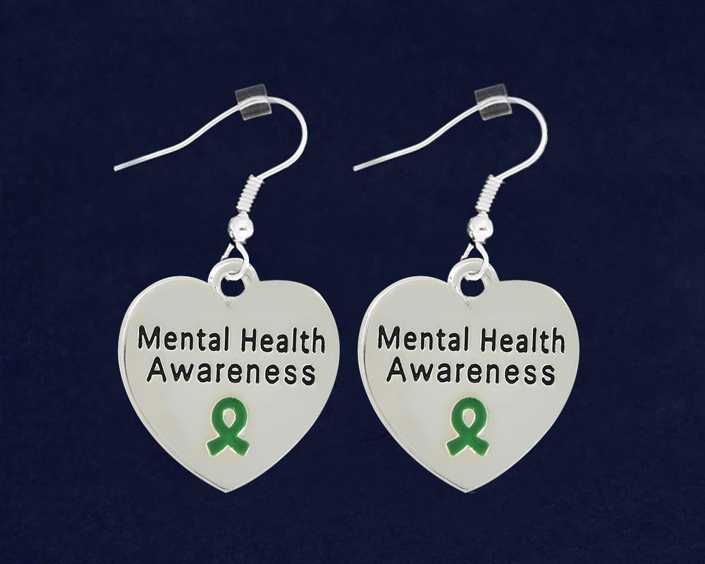Mental Health Awareness Heart Earrings