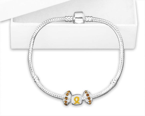 Chunky Charm Gold Ribbon Bracelet for Childhood Cancer - The House of Awareness