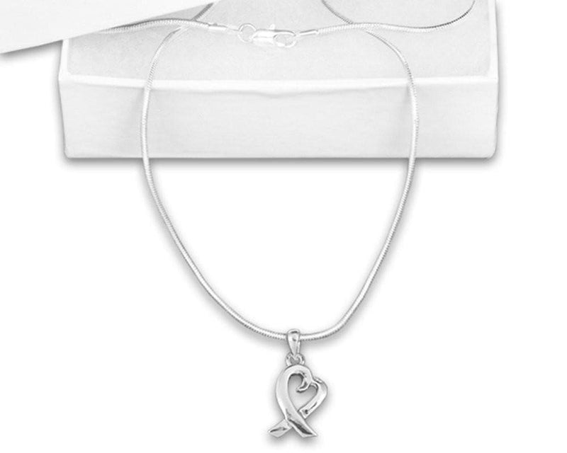 Silver Heart Ribbon Necklace for Cancer Awareness - The House of Awareness