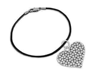 Autism Puzzle Piece Heart Charm on Black Cord Bracelet - The House of Awareness