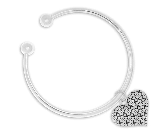 Autism Puzzle Piece Heart Bangle Bracelet - The House of Awareness