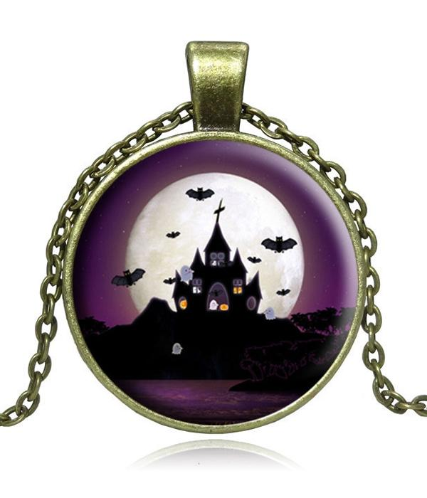 Antique Bronze Halloween Theme Necklace - The House of Awareness