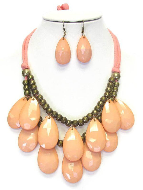 Double Layer Chunky Teardrop Tie Back Necklace Set - The House of Awareness