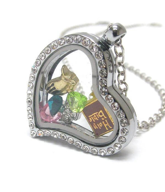Heart Charm Locket with a Christian Bible - The House of Awareness