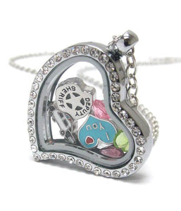 Heart Charm Locket for I love Police and Sheriff , Women - Jewelry - Necklaces - The House of Awareness, The House of Awareness