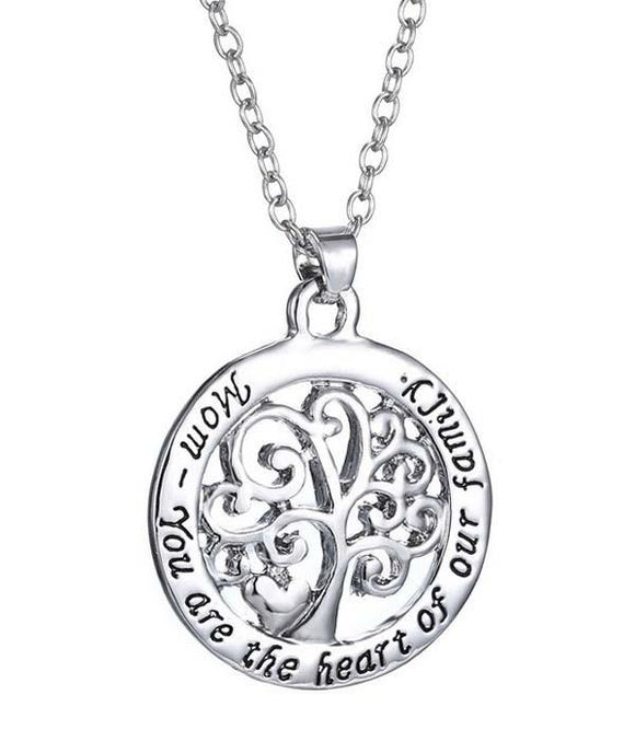 Mom Your are the Heart of our Family Pendant Necklace , Women - Jewelry - Necklaces - The House of Awareness, The House of Awareness