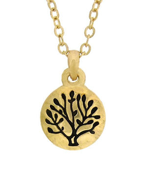 Tree of Life Hand Stamped Metal Tiny Pendant Necklace - The House of Awareness