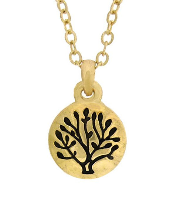 Tree of Life Hand Stamped Metal Tiny Pendant Necklace