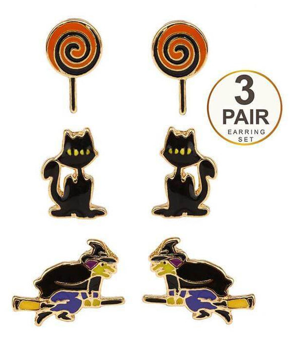 Halloween Theme 3 Pair Earring Set With Witches