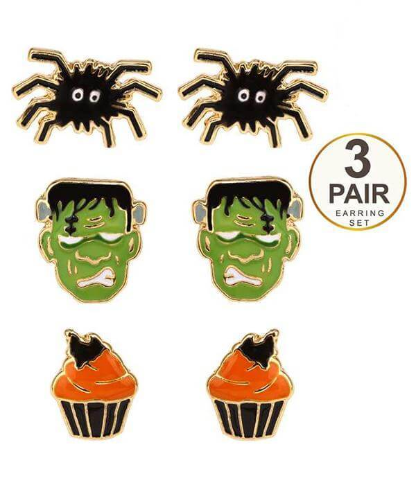 Halloween Theme 3 Pair Earring Set With a Black Spider