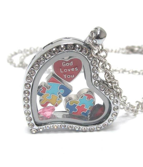 Heart Charm Locket for Autism , Women - Jewelry - Necklaces - The House of Awareness, The House of Awareness  - 1