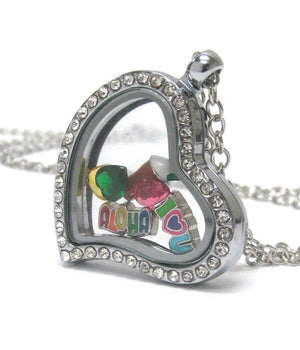 Heart Charm Locket with Word Aloha - The House of Awareness