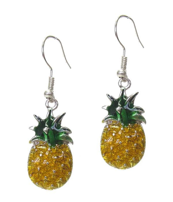 Pineapple Metal Textured Hook Earrings