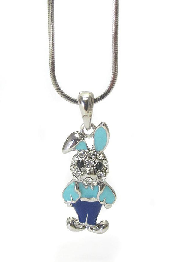 Whitegold Plating Epoxy and Crystal Boy Bunny Pendant Necklace