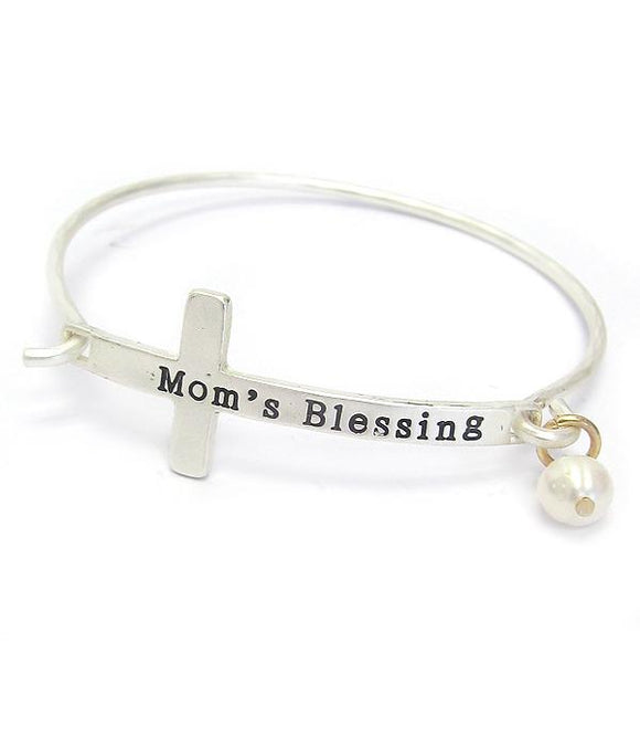 Silver Cross Mom's Blessing Bangle Bracelet