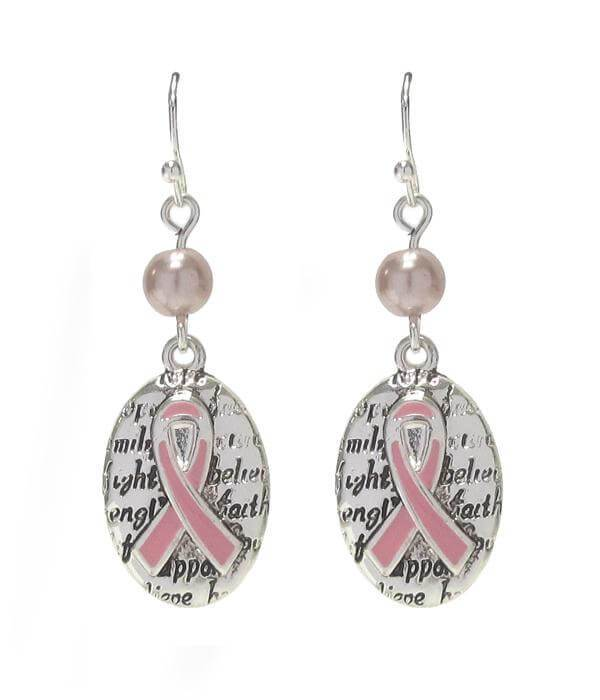 Breast Cancer Awareness Pink Ribbon Oval Drop Earring - The House of Awareness