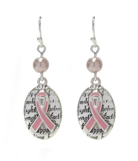 Breast Cancer Awareness Pink Ribbon Oval Drop Earring
