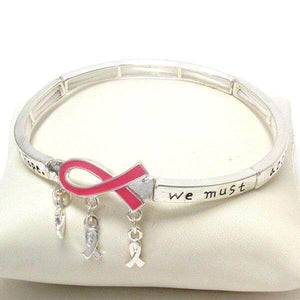 Breast Cancer Awareness Pink Ribbon Stretch Prayer Bracelet