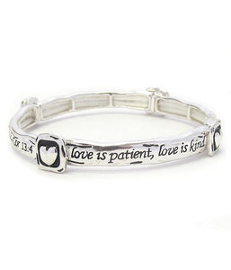Religious Inspiration Stackable Message Stretch Bracelet-Cor 13:4 - The House of Awareness