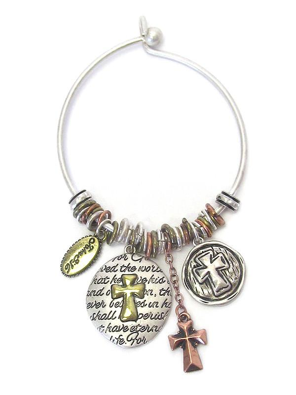 Religious Inspiration Multi Cross Charm Wire Bangle Bracelet John 3:16 - The House of Awareness