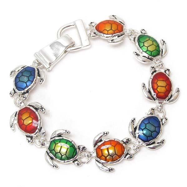 Multi-color Turtle Link Magnetic Bracelet - The House of Awareness