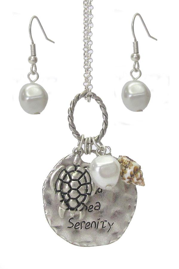 Sealife Theme Multi Charm Pendant Necklace Set - Turtle - The House of Awareness