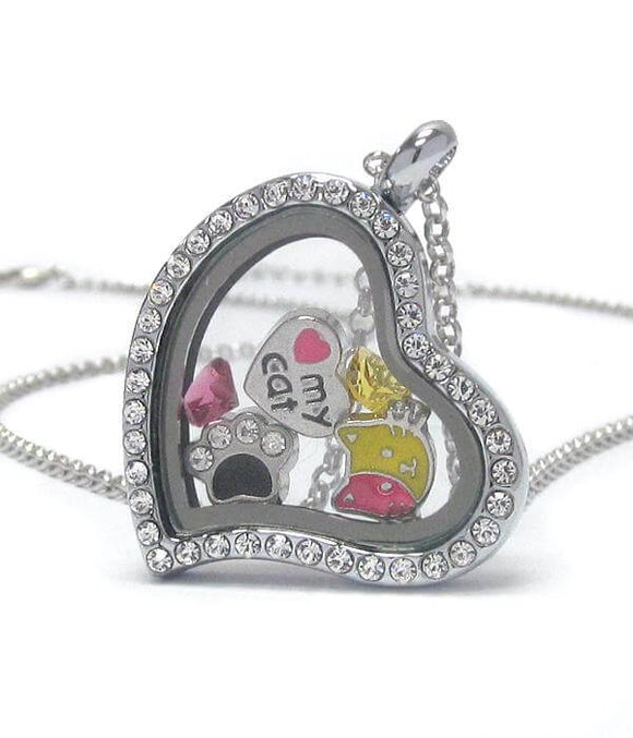 Heart Charm Locket Necklace for Cat Lovers - The House of Awareness