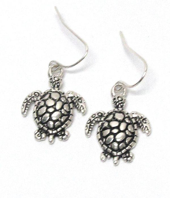 Metal Textured Turtles Hook Earrings