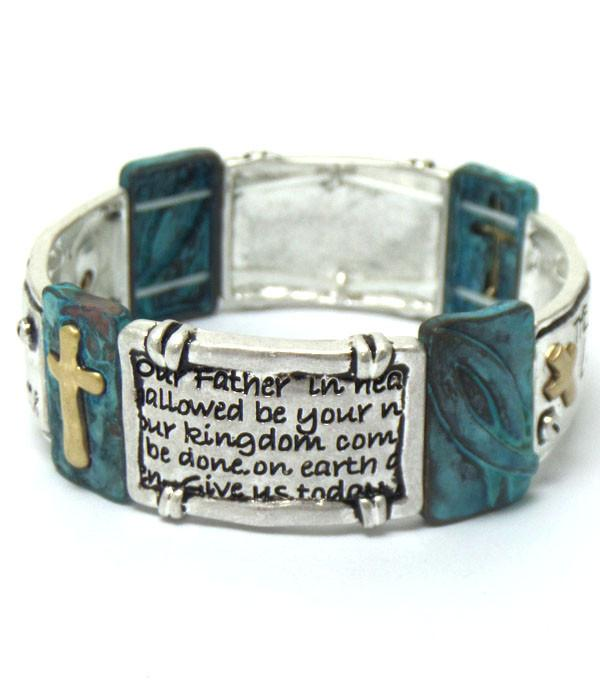 The Lord's Prayer Religious Stretch Bracelet - The House of Awareness