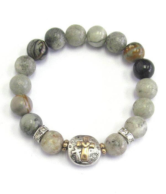 Cross and Semi Precious Ball Stone Stretch Bracelet - The House of Awareness