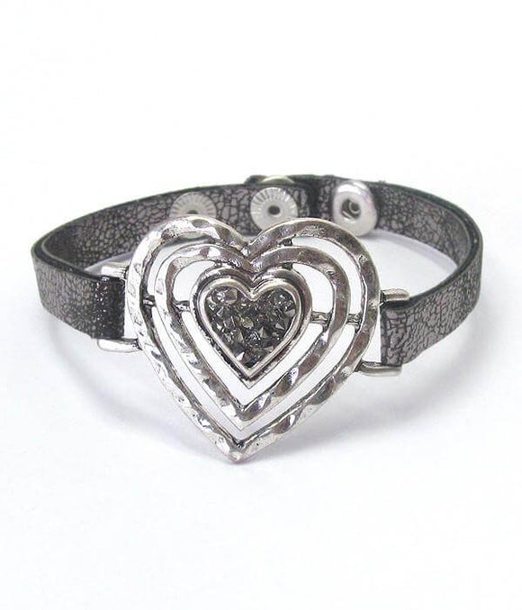 Heart and Leatherette Band Bracelet for Valentine's Day , Women - Jewelry - Bracelets - The House of Awareness, The House of Awareness