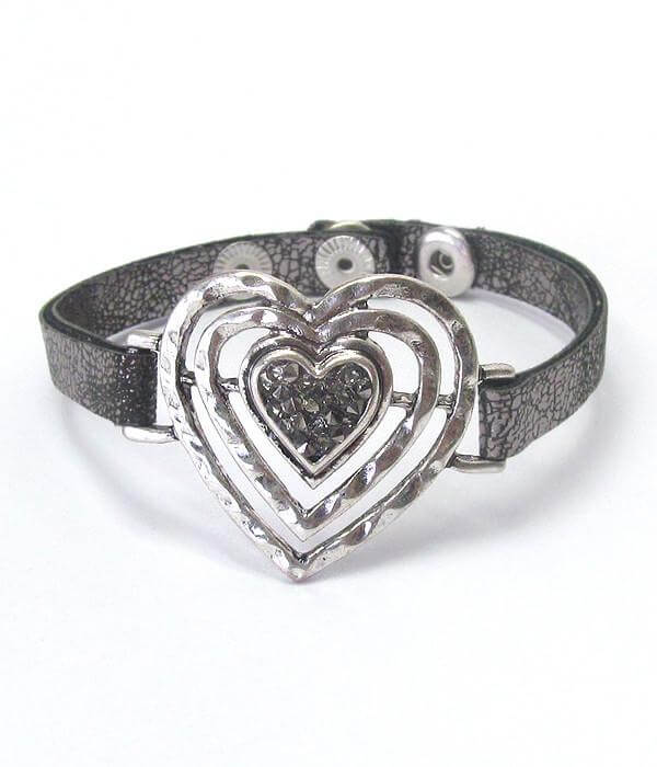 Heart and Leatherette Band Bracelet for Love - The House of Awareness