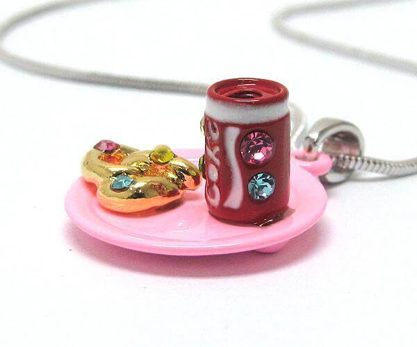 Children's Miniature Soda and Pretzel pendant Necklace , Children - Girls - Jewelry - The House of Awareness, The House of Awareness