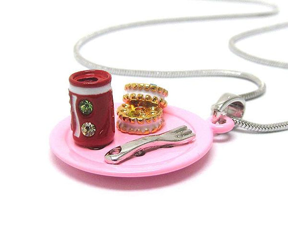 Children's Two Miniature Cookies and Soda San pendant Necklace , Children - Girls - Jewelry - The House of Awareness, The House of Awareness