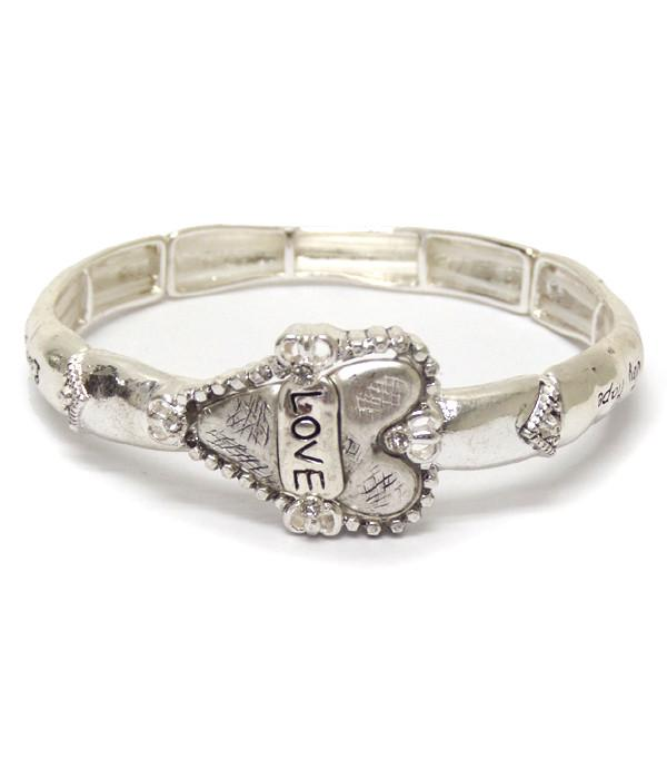 Metal textured heart message bracelet for Valentine's Day - The House of Awareness