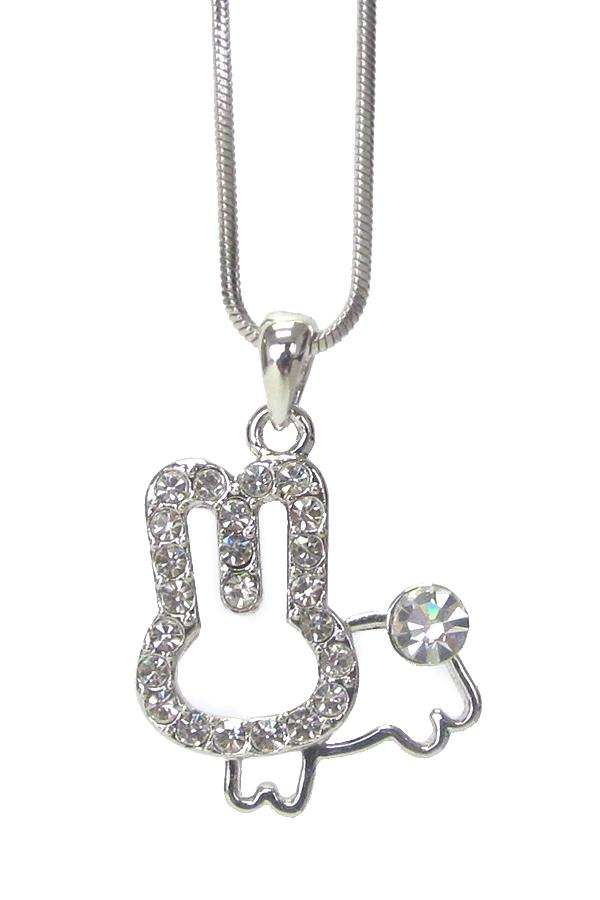 Whitegold Plating Crystal Stud Bunny Rabbit Pendant Necklace - The House of Awareness
