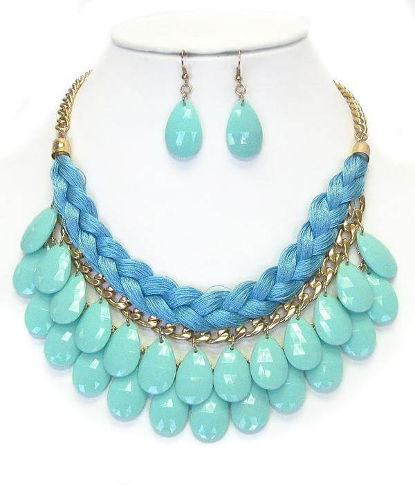 Fabric Rope and Chain Mix Double Acrylic Teardrop Necklace Earring Set - The House of Awareness