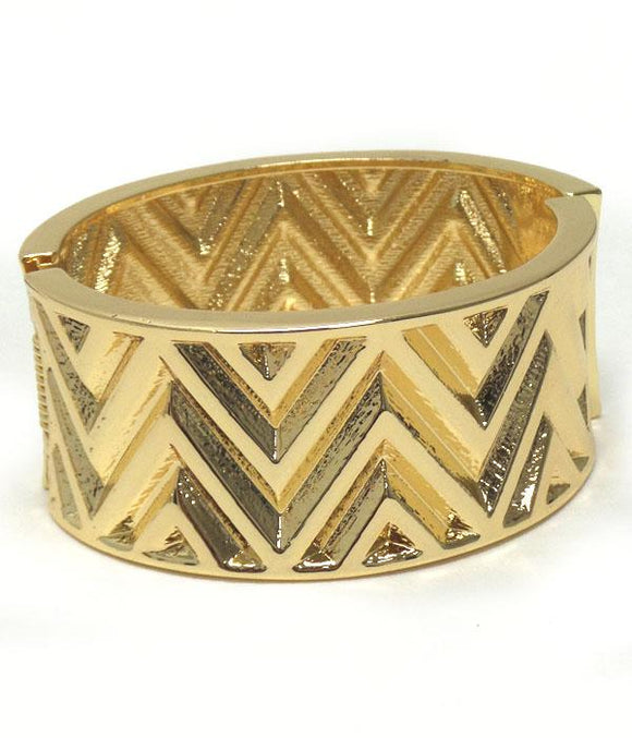 Gold Chevron Textured Hinge Bangle Bracelet