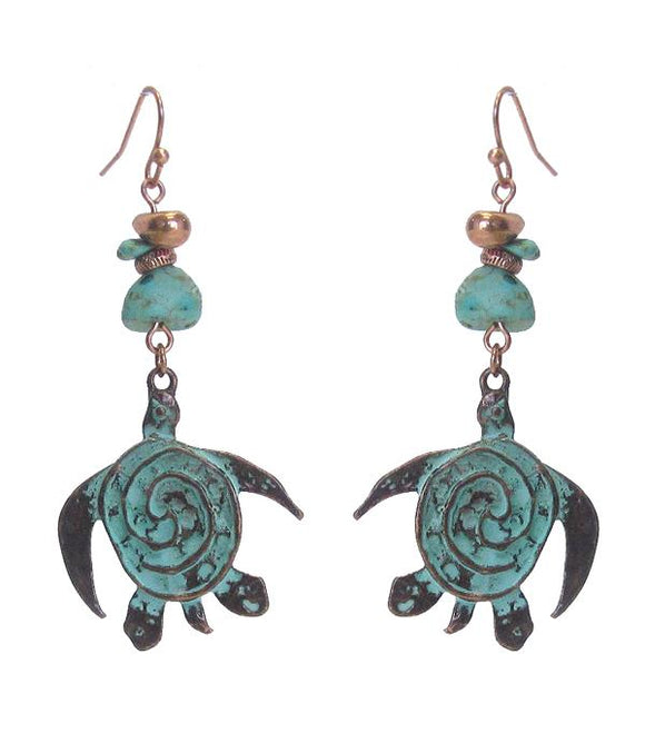 Semi Precious Stone and Turtle Earring - The House of Awareness