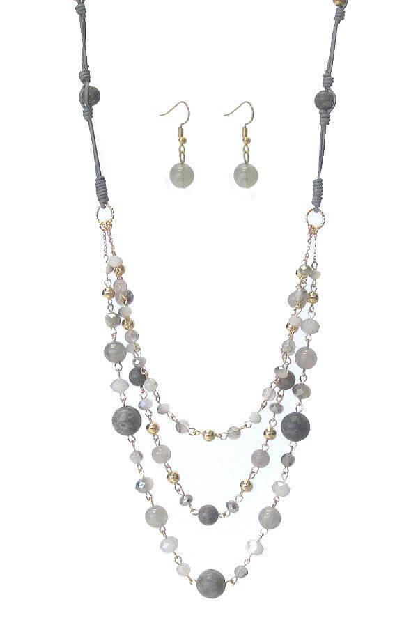 3 Layer Semi Precious Stone Chain Long Necklace Set - The House of Awareness