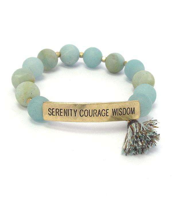 Serenity Courage Wisdom Inspiration Message Semi Precious Stone and Tassel - The House of Awareness