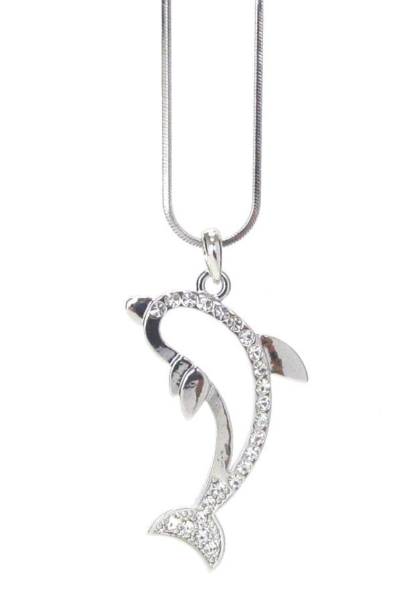 Whitegold Plating Crystal Open Dolphin Pendant Necklace