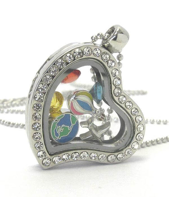 Heart Charm Locket Necklace for Travel - The House of Awareness