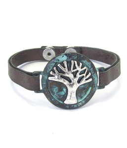 Tree of Life and Leather Band Bracelet - The House of Awareness