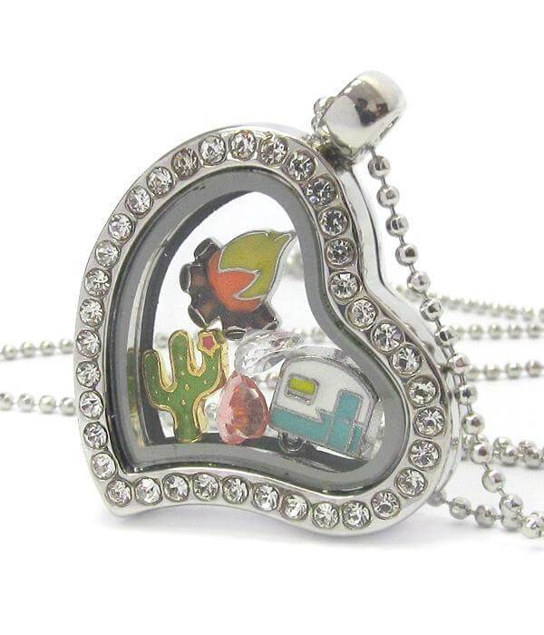Heart Charm Happy Camper Locket Necklace