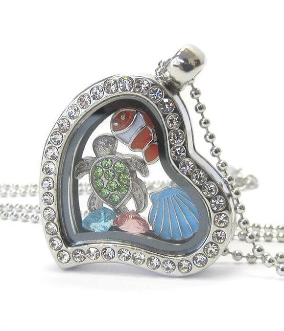 Heart Charm Locket Necklace for Sea Life - The House of Awareness