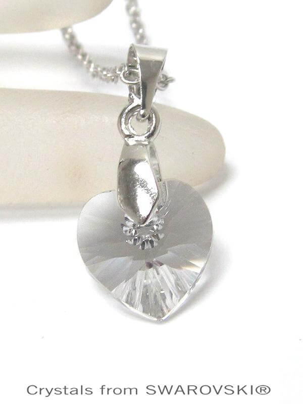 Genuine Swarovski Clear Crystal Semplice Heart Pendant Necklace - The House of Awareness