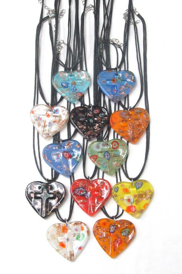 Murano Glass Style Heart and Cross Pendant Necklace - The House of Awareness